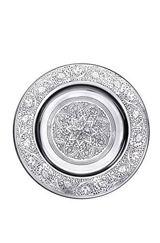 Orientalisches rundes Tablett aus Metall Sidra 30cm | Marokkanisches Teetablett in der Farbe Silber | Orient Silbertablett silberfarbig | Orientalische Dekoration auf dem gedeckten Tisch - 30 Runden Tisch