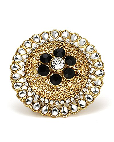 Bindhani Gold Plated Kundan Finger Ring For Women (Adjustable, Black)  available at amazon for Rs.198