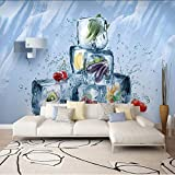Pbbzl Nuevo 8D Bloque De Mural Grande 3D Vegetales Wallpaper Verano Junto Al Mar Mural 3D Mural Para El Sofá De Fondo 3D Que Cubre La Pared Decoración-400X280Cm