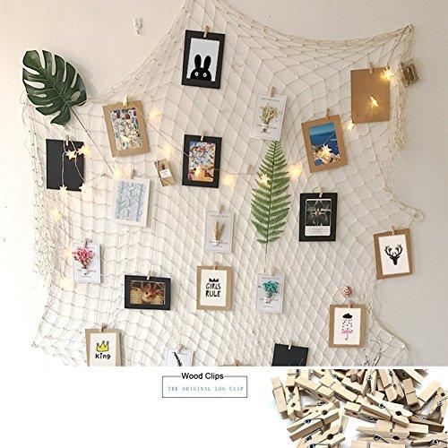 ängen display mit 30 hölzernen clips - jute fischernetz wand dekor - bilderrahmen und druckt foto - organisator und collage - dekorativen kunstwerke - wohnheim - zimmer weihnachtsschmuck (Inspirierende Wand-dekor)