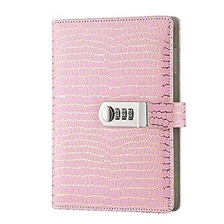cuzit Business Secret Journal Büro Sichtschutz Notebook PU Leder Diary, Buch Notizblock Schreiben mit Passwort lock-pink