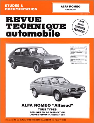 Revue Technique Automobile, CIP 346.5 : Alfa Romeo «Alfasud» tous types (1973/1985)