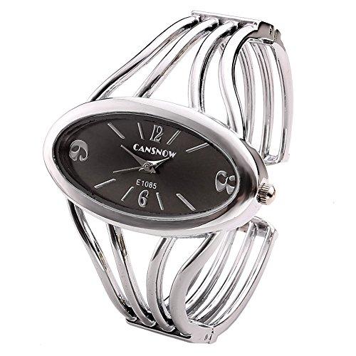 JSDDE Uhren, Elegant Damen Oval Spangenuhr Armbanduhr Metall Band Armreif Manschette Analoge Uhr Quarzuhr Kleideruhr für Frauen (Silber Band-Schwarz Dial)