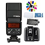 Godox TT350F 2.4G HSS 1/8000s TTL GN36 Camera Flash + Godox X1T-F TTL 2.4G 1/8000s HSS 32 Channels Flash Trigger Transmitter for Fuji DSLR Cameras