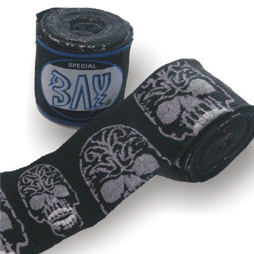 """BAY® SKULL """"TOTENKOPF schwarz basic 2,5"""" Boxbandagen + WICKELANLEITUNG, elastisch, 2,5 Meter x 5 cm, Box-Bandagen, Paar für Kinder Kids und Erwachsene geeignet"""