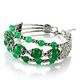 Pulsera Brazalete de Jade Tíbel Plata 3 Filas Abalorios Color Verde