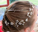 Wedding Hair Vine - Plait Vine- Boho Rustic headpiece- silver wire with white flowers