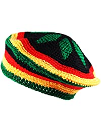 228275318eb Itzu Crochet Knit Tam RASTA REGGAE BERET Beanie Cap Hat Black Red Yellow  Green Star