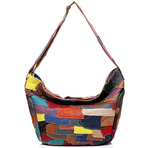 ZPFME Frauen Handtasche Damen Tasche Rindsleder Nähen Messenger Bag Mädchen Party Retro Damen Mode Schultertasche Große Tasche Multi