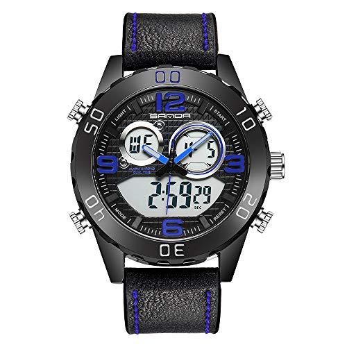 GLDMT Geschäft Sportuhr, Outdoor-Sport-Doppelanzeige Leuchttisch, Mode Multifunktionale Studentenleder Elektronische Uhr,B