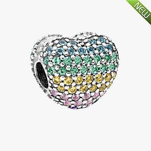 PANDOCCI 2018 Neue Sommer öffnen Mein Herz ebnen Clip, Multi-Color CZ 925 Silber DIY passt für Original Pandora Armbänder Charm Modeschmuck