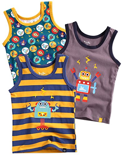 Vaenait baby 86-122 Jungen Kinder Unterhemd 3-Packung Top Undershirts Set Line Raser Robot L