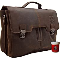 Briefcase - Laptop bag TYCHO BRAHE made of brown genuine leather - BARON of MALTZAHN