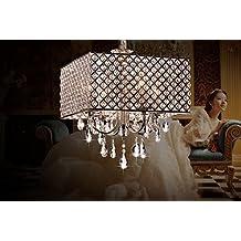 OOFAY LIGHT® Elegante moderno 4 - luz lámparas colgantes, lámpara lgiht con gotas de cristal en pluma cuadrados de sala, comedor, dormitorio