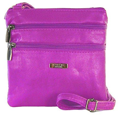Lorenz Piccolo PU Pelle Doppia sezione Bag–Borsa a tracolla Borsetta, BRIGHT RED (multicolore) - 5860 PURPLE