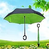 Zantec Creative Etagenbett seitenverkehrt Regenschirm doppelten Rückseite zusammenklappbar C-förmigem Henkel Stand-up Regenschirm für Auto und Außeneinsatz, grün