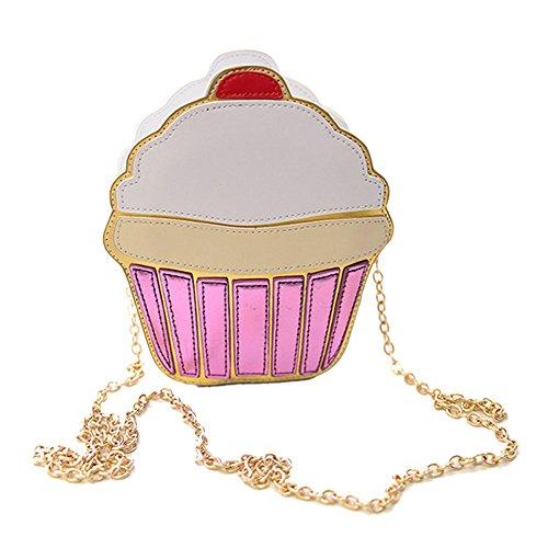 Rokoo Lustige Eiscreme-Kuchen-Tasche Kleine Crossbody Beutel für Frauen nette Geldbeutel -Handtaschen -Kette Messenger Bag Partei-Beutel (Frauen Cupcake Kostüm)