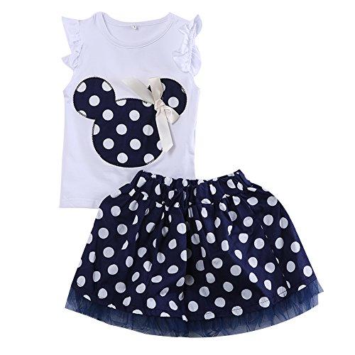 Baby Mädchen Kleidung Sets, Kleinkind Minnie Rüschen Tops Polka Dots Tutu Röcke Kostüm 2 Stück Outfits Sets (Navy blau, 2-3T)