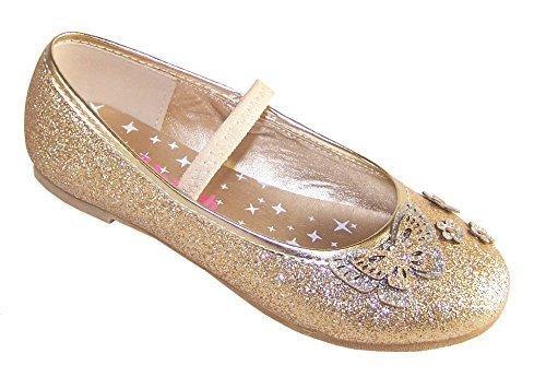 Ragazze oro glitter ballerine basse luccicante scarpe da festa - Dorato, 24 EU