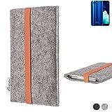 flat.design Handy Hülle Coimbra für Hisense Infinity H11 Pro - Schutz Case Tasche Filz Made in Germany hellgrau orange