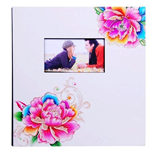 FOOHAO- Albums photo avec des pages collantes, couverture en bois laquée colorée, 20 pages (40 faces), Album famille créative (Couleur : White card)