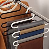 #9: S-Type Magic Pants Hanger Multi-Purpose By-Clickus Stainless Steel Hanger Clothes Organizer Space Saver Storage Rack 5 Layer for Hanging Jeans Trouser Scarf Tie Towels Coat-Size-32*34*2CM Multi-Colour