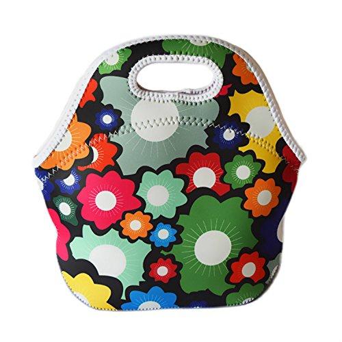 Isolierte Kühltasche Lunch Tote Lunchtasche Picknick Taschen Blumen Regentropfen Spots Streifen Farbe Damen Handtasche für Mädchen Kinder Wildflowers