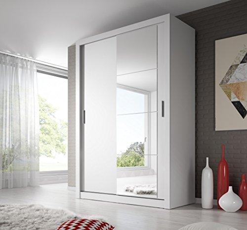 Schwebetürenschrank Kleiderschrank AR-04 ARTI Garderobe Schrank mit Spiegel (WEIß MATT)