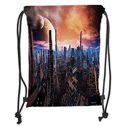 WTZYXS Drawstring Sack Backpacks Bags,City,Futuristic Cityscape on Distant World Sci Fi Inspired Design Planets in Sky,Orange Blue Cinnamon Soft Satinring Closur,5 Liter Capacity.
