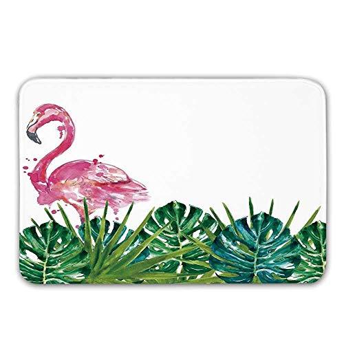 Kinhevao rutschfeste Fußmatten des tropischen Gummi-Schutzträgers, exotische Natur-botanische Grafik mit Blättern und Flamingo-Aquarell-Grafik-Fußmatten-Fußmatten-Wolldecken-Badematte -
