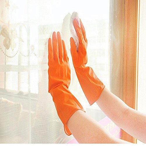 Handschuhe erthome Wasserdichte Gummi Latex Handschuhe für Geschirrspülen Wäsche Hausarbeit (Orange) (Angst Vor Kleidung)