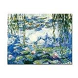 Wieco Art agua lirios de Claude Monet las pinturas al óleo flores reproducción Giclée moderno...
