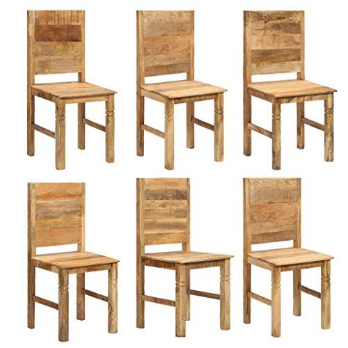Festnight Esszimmerstühle 6 STK. | Rustikal Esszimmer Stuhl 6er Set | Holz Küchenstuhl | Essstuhl Set | Massiv Mangoholz 43 x 43 x 91 cm