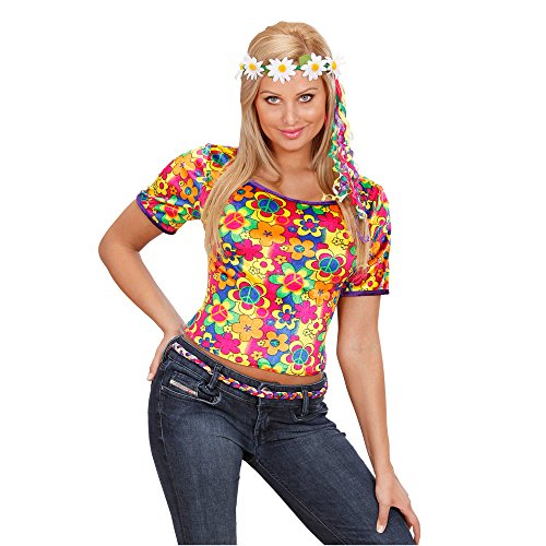 Widmann 7443H Erwachsenenkostüm Hippie T- Shirt, (Ideen Blumen Kostüm Kinder)