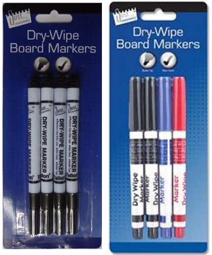 just-stationery-dry-wipe-marker-assorted-colours-set-of-4