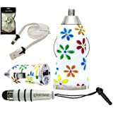 Emartbuy Trio Pack für Xoro Telepad 732 7-Zoll- Tablet - Retro-Blumen- Kugel- 1 Amp USB Car Charger + Weiß Mini Stylus Metallic + weiß Wohnung Anti-Tangle Micro USB Sync / Transfer Data & Charge Kabel