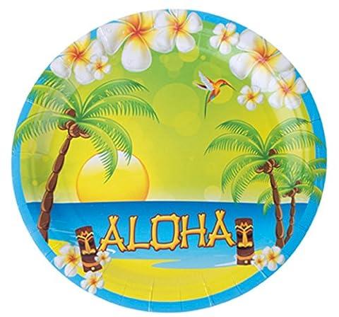 erdbeerparty- Party Dekoration Teller Hawaii Aloha Hula 8 Stück, Mehrfarbig