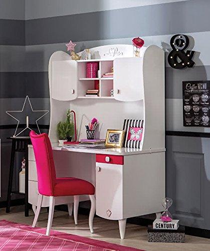 Dafnedesign.com – scrivania da ragazza con mensola superiore, dimensioni h 172 x l 124 x p 61 cm,(sf11)