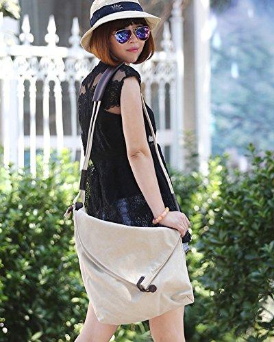 ZongSen Damen Shopper Leinwand Umhängetaschen Schulterbeutel Strandtasche Beige Beige