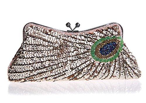Peacock Musterhandtasche/Brautpaket/Mode Abendtasche/Hochwertige Bankett/Frau Clutch/Sequined Kleid Paket-F D
