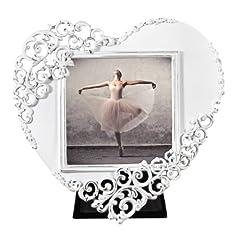Idea Regalo - Hama 00059902 - Cornice portafoto Wales, a forma di cuore, 7.5 x 7.5 cm, bianco, vetro;metallo