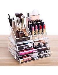 FOBUY Caja acrílica Estante de maquillajes Maquillaje Cosméticos Joyería Organizador (4 Drawers Clear C) (2 layer Color transparente)
