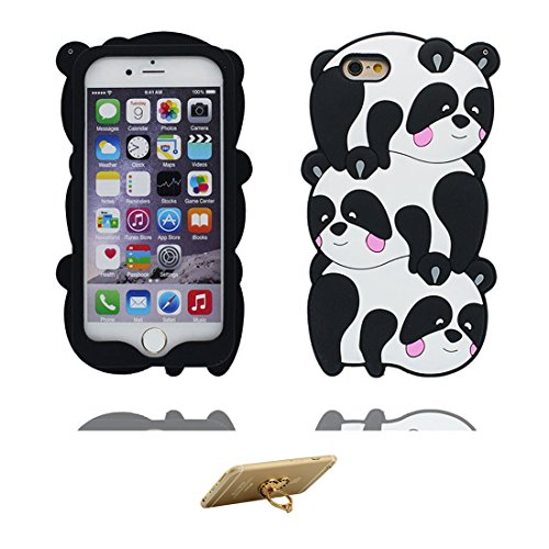 "iPhone 6 Plus Hülle, TPU materielles flexibles, Case iPhone 6S Plus / 6s Plus Handyhülle iPhone 6 Plus Cover 5.5"", [Schock-Beweis] [Ziemlich weich Kunststoff] Ring Ständer- Cartoon Bär Honey 3D Cute COLOR2"