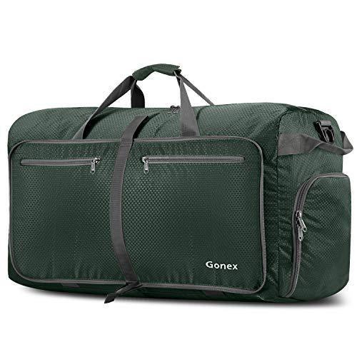 Gonex 100L Travel Duffel Bag Foldable Water Resistant Travel Bag Lightweight Duffel Bag with Big Capacity for Luggage Gym Sports Dark green