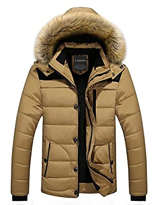 Menschwear Men's Faux Fur Hooded Down Jacket Flannel Lined Winter Outwear S-4XL