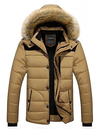 Get Menschwear Men's Faux Fur Hooded Down Jacket Flannel Lined ...