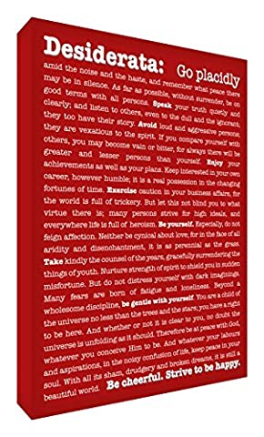 Feel Good Art A1 Modern Gallery Wrapped Typographic Thick Box Canvas (36 x 24-Inch, Dark Red, Desiderata