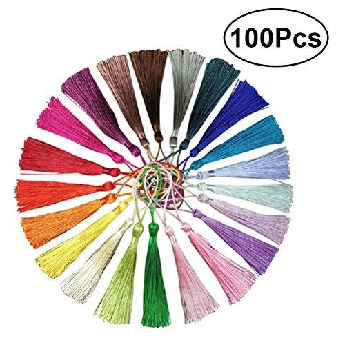 ULTNICE 100 STÜCKE Dekorative Mini Quasten Silk Quasten für Souvenir Geschenk Tag 20 Farben