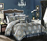 Chic Home 9 Piece Aubrey Decorator Upholstery Quality jacquard scroll Fabric Bedroom Comforter set & Pillows Ensemble, Queen, Blue by chic Home