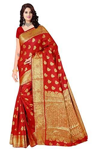 Boutique On Palm Bollywood Style New Generation Concept Party Wear Saree Banarasi Silk Sarees (Red Jacquard Soft Bird Pannel Angel)